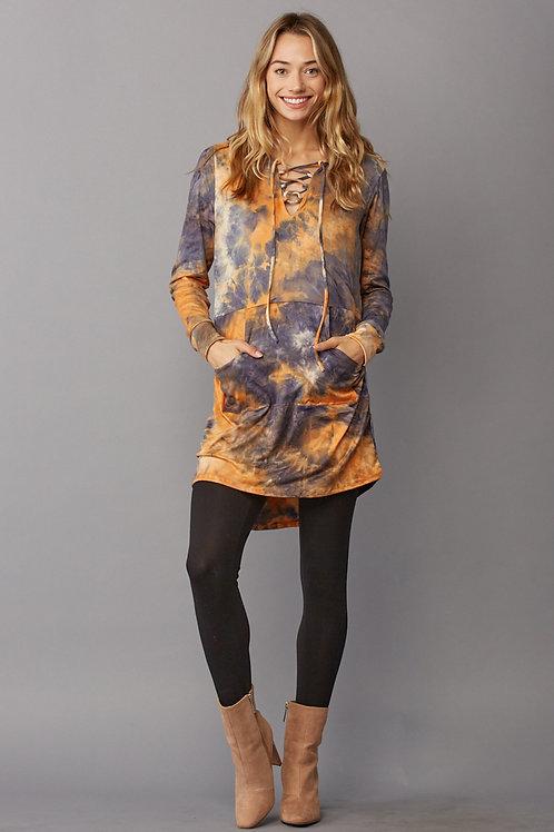 1317 Tie Dye, hoodie tunic top, loose fit, v-neck, long sleeve.