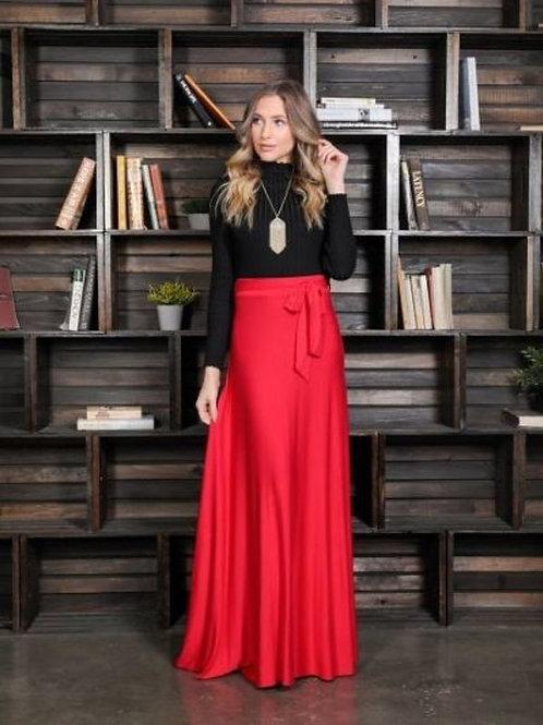 1214. High waist, A-line maxi skirt, loose fit, waistband, waist tie