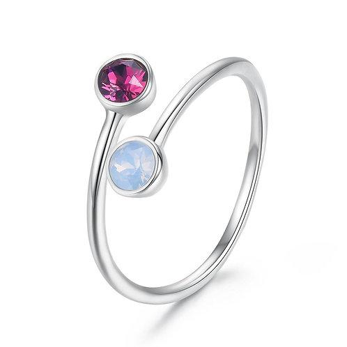 Adjustable Opal and Pink Topaz Sterling Silver Adjustable Ring