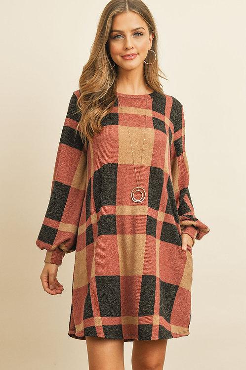 Round Neck Puff Sleeved Plaid Knee Length Dress