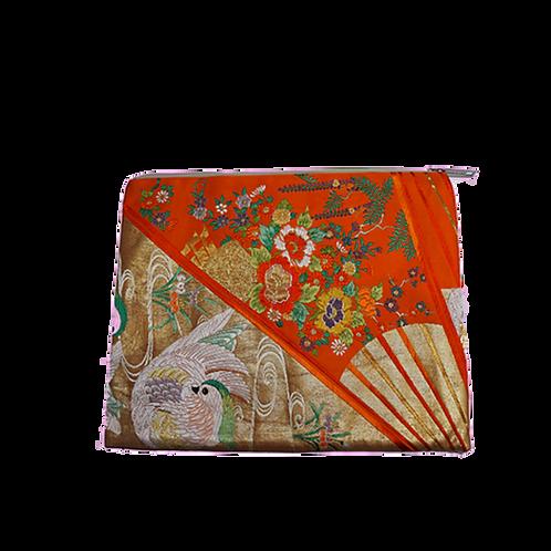 JIYUU Large Orange Obi Clutch Bag