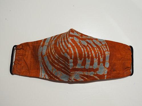 Orange Cotton Hand Drawn Face Mask - Adults