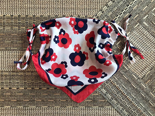 Vintage Up-cycled White and Red Flower Print Face Covering