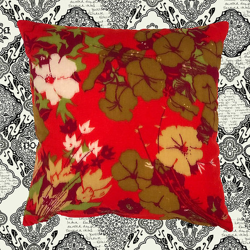 Up-cycled Floral Cushion Made From Vintage Silk Scarf