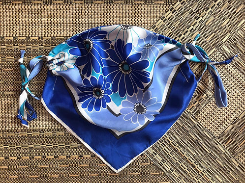 Vintage Up-cycled Blue Silk Face Covering