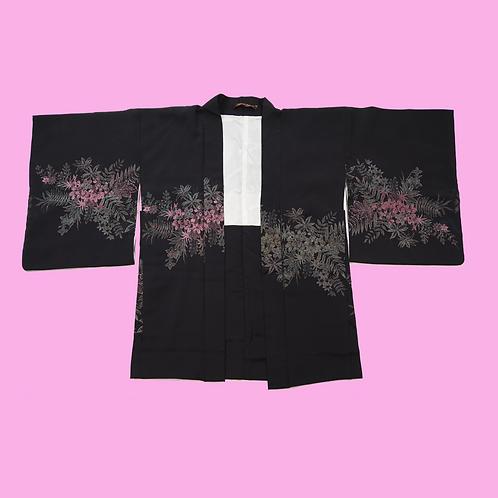 Vintage Black Metallic detail  Silk Kimono