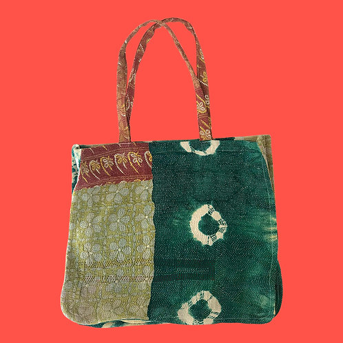 Up-cycled Tote Bag made from Vintage KanthaThrow