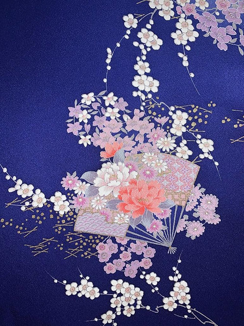 Purple Hand-painted Floral Silk
