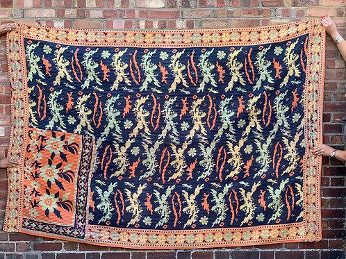 Vintage Handmade Navy Printed Kantha Bedspread