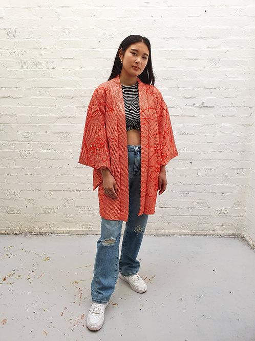 Vintage Kimono, Red With Shibori dye Pine Tree