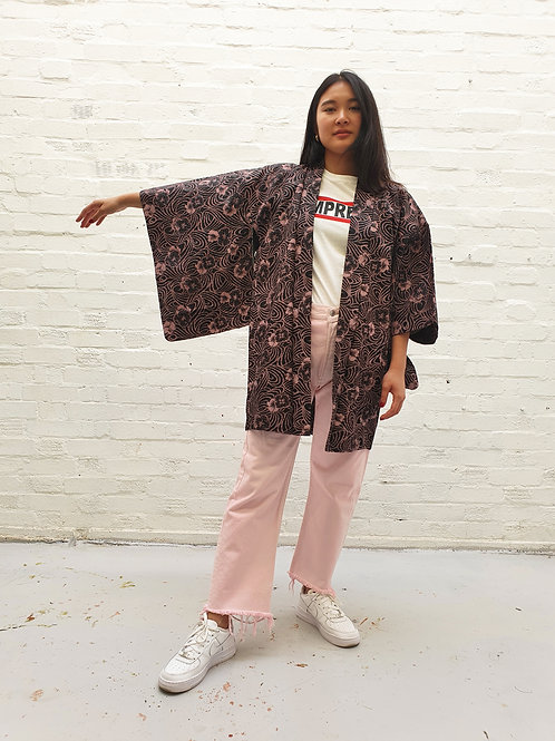 Vintage Kimono with woven flowers and bright silk lining