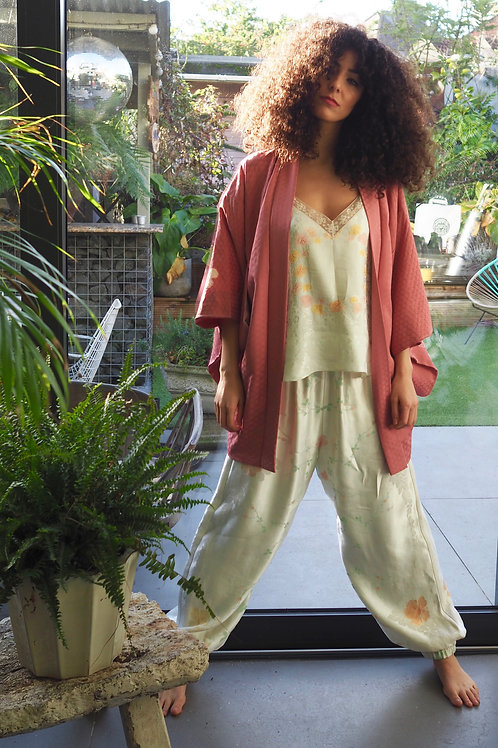 Repurposed Linen and Rayon Trousers made from Vintage Tablecloth