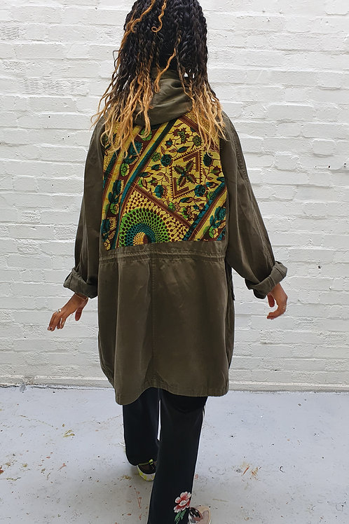 Up-cycled vintage parka with African printed panel