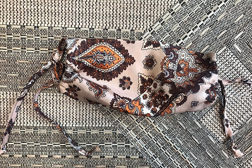 Vintage Up-Cycled Light Brown Paisley Print Face Covering