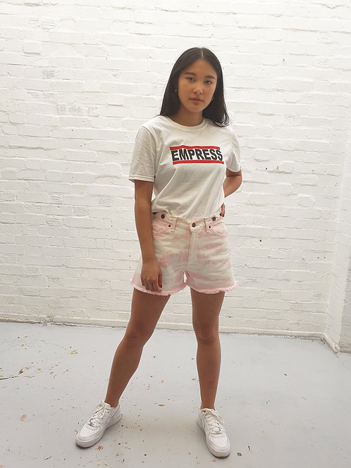 Up-cycled Bleach dyed pink and white vintage Levi shorts.