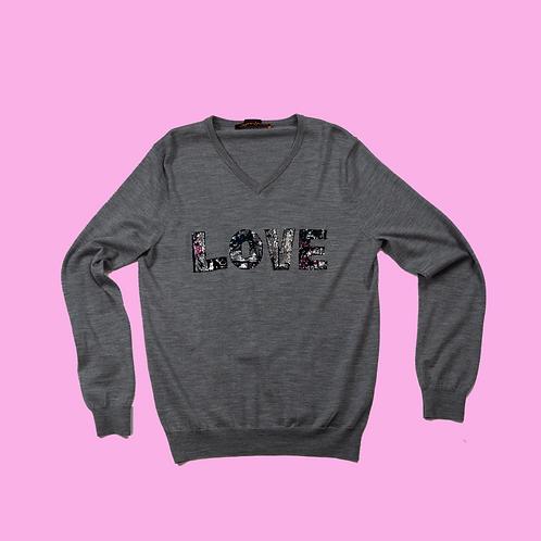 Grey Merino Wool V neck up-cycled LOVE  jumper