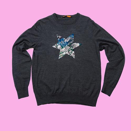 Dark Grey Merino Wool round neck up-cycled STAR  jumper