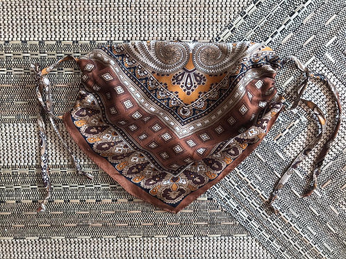 Vintage Up-Cycled Brown Paisley Silk Face Covering
