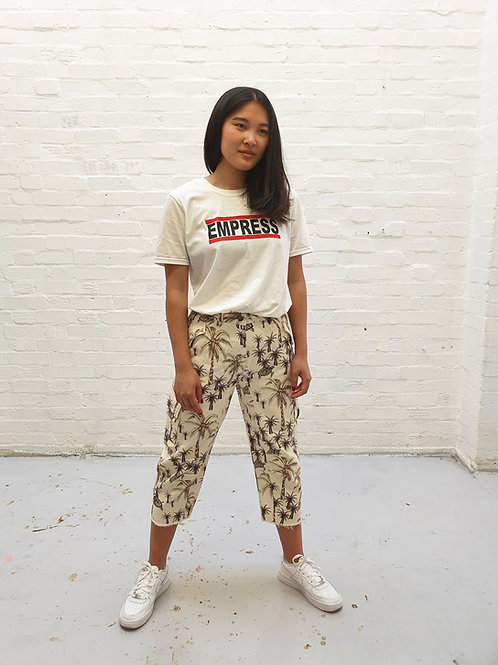 Cotton palm tree print trousers