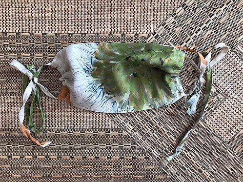 Vintage Up-cycled Green Silk Face Covering