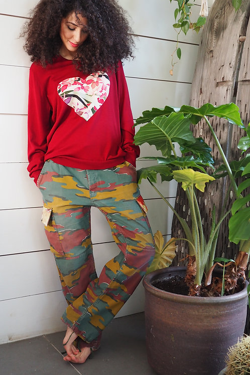 Up-cycled Camo Trousers with Obi  Applique