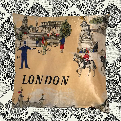 Up-cycled London Cushion Made From Vintage Silk Scarf