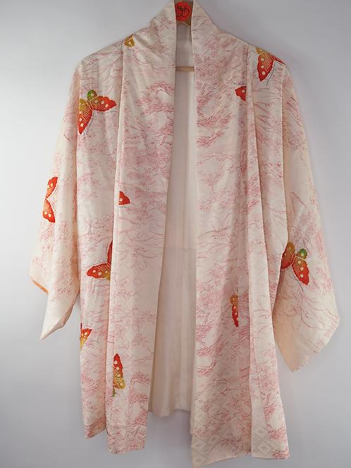 Repurposed White Butterfly Kimono Jacket Made from Vintage Silk Kimono