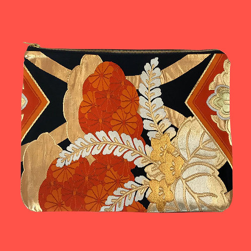 Up-cycled Clutch Bag made from repurposed vintage Obi belt