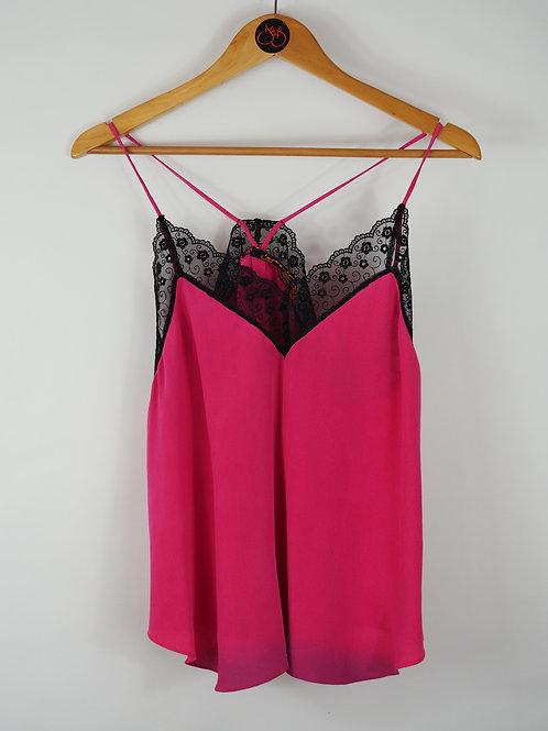 Repurposed Fuchsia Camisole Made from Vintage Silk Kimono Lining