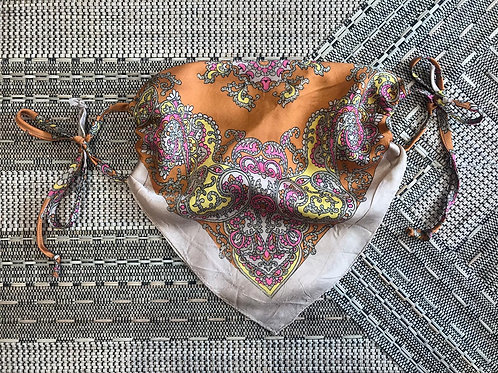 Vintage Up-Cycled Orange Paisley Face Covering