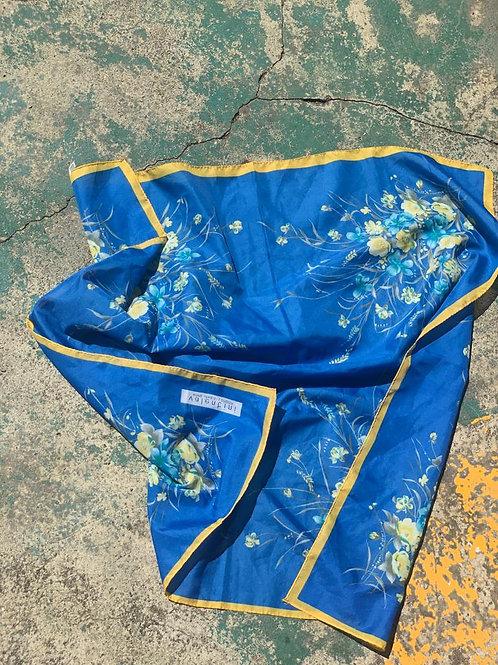 Vintage Blue Floral Scarf Top