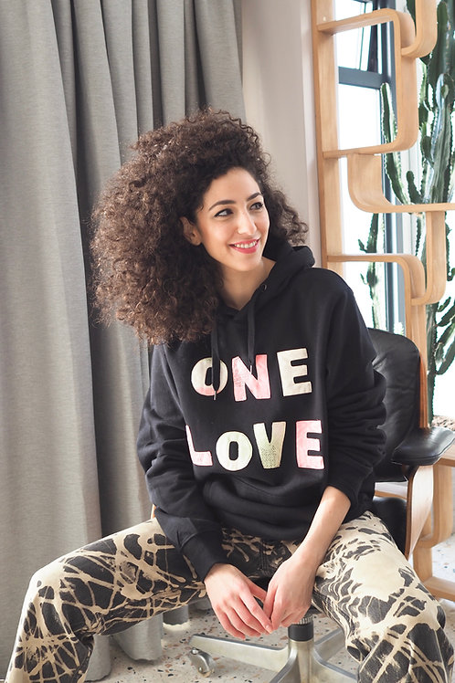 Up-cycled ONE LOVE hooded sweat top