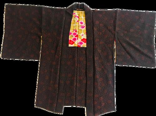 Vintage Silk Black and Red Kimono