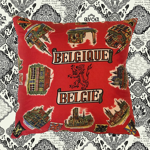 KUSSHON Red Silk Belguim Cushion