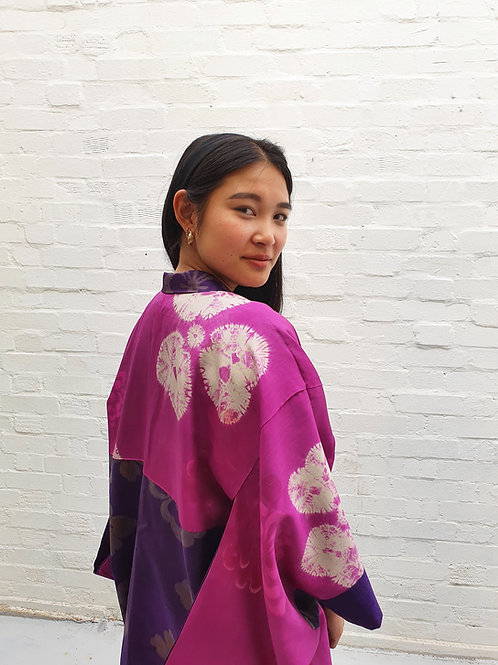 Vintage silk kimono with tie dye lining