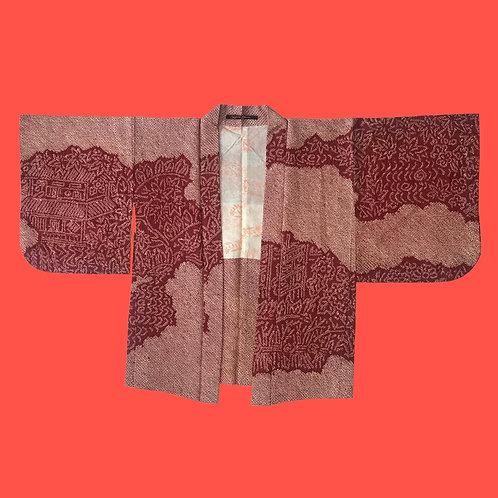 Vintage Red Shibori Dye Kimono