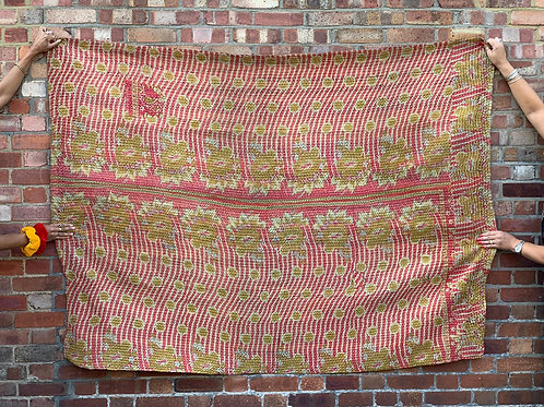 Vintage Handmade Pink and Yellow Floral  Kantha Bedspread
