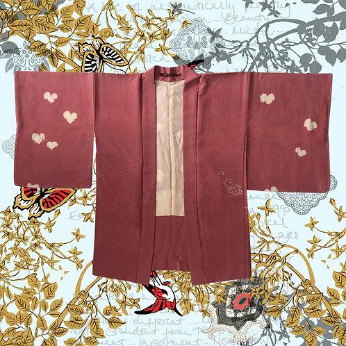 Vintage Pink Silk Kimono With Heart Detail