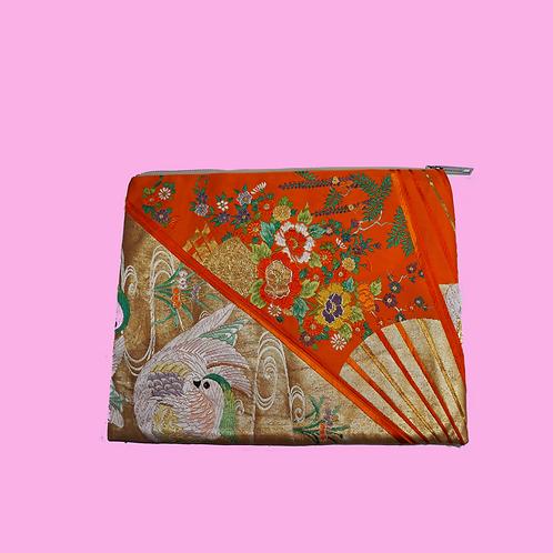 Up-cycled Clutch Bag Made from Vintage Orange Obi