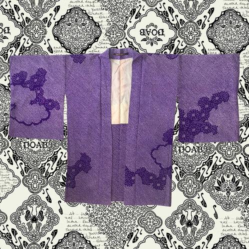 Vintage Purple Silk Shibori Kimono