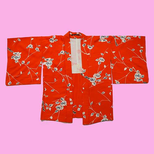Vintage Orange Hand-painted Silk Kimono