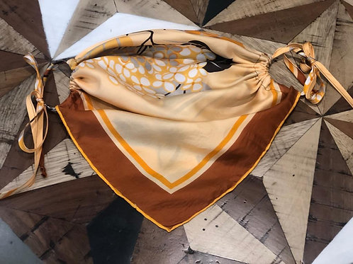 Yellow Print Up-cycled Vintage Silk Scarf Face Covering With Ties