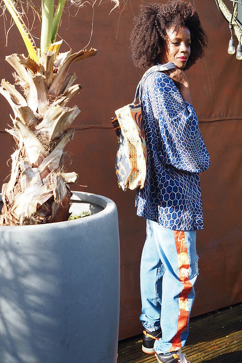 Up-cycled Denim Jeans with Applique Kimono