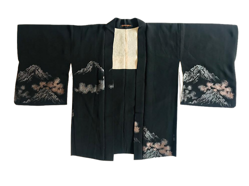 Vintage Silk Unisex Kimono with Metallic Mountain Scene