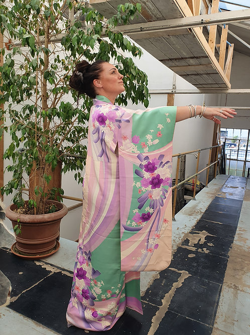 Vintage Long Silk Kimono