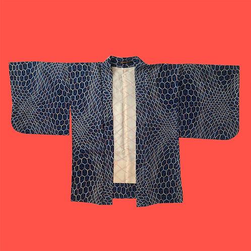 Vintage Navy Silk Geo Print Kimono