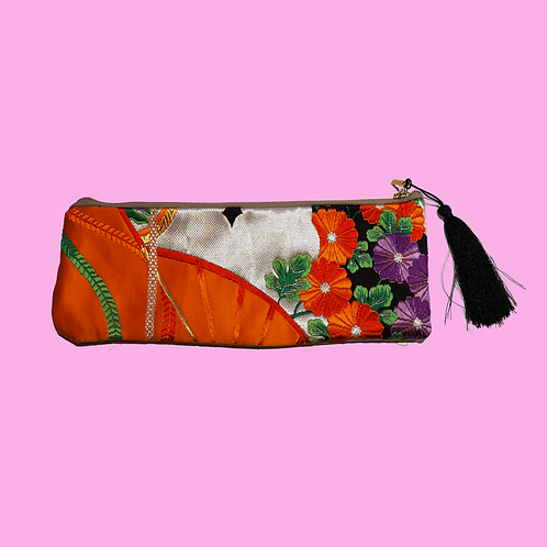 Up-cycled Pencil Case Made from Vintage Orange Obi
