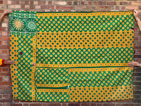 Vintage Handmade Green and Yellow Polka dot  Kantha Bedspread