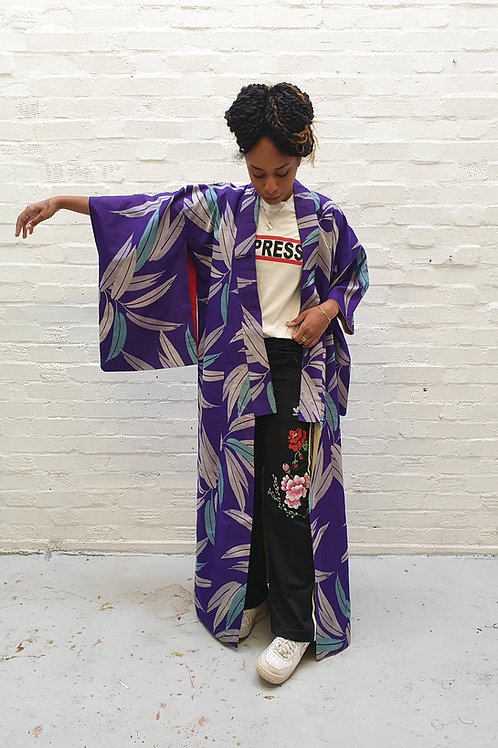 Long vintage Kimono with Palm leaves