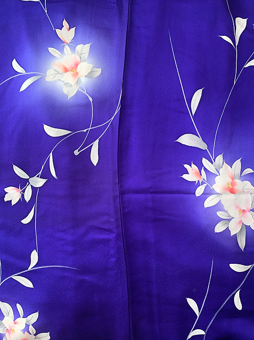 Blue Floral Hand-painted Silk